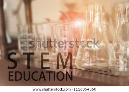 STEM education Laboratory beakers.Science experiment concept background. #1116854360
