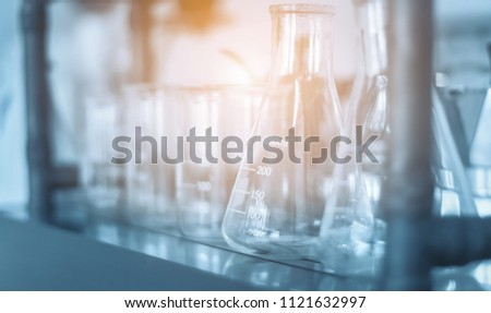 STEM education Laboratory beakers.Science experiment concept background. #1121632997
