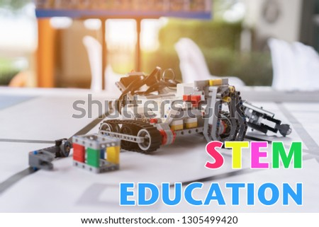Stem educations,inventor school Creating robotics project,microcontroller Circuit board Analysis assembly,DIY robot in science education class #1305499420