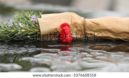 Stem of rosemary wrapped in brown paper with a poppy flower on a wet stone surface for anzac day commemoration ceremony service. Lest we forget. Dawn Service. Veterans and ex servicemen. Allied forces