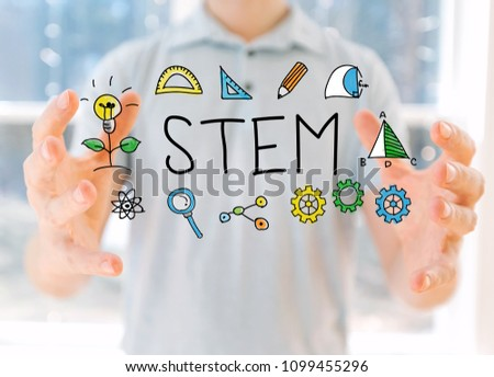 STEM with young man holding his hands #1099455296