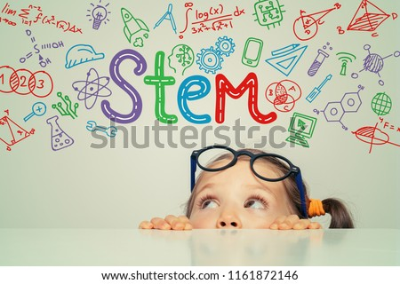 STEM word and symbols over beautiful cute little girl. modern education concept #1161872146