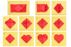 Step by step instruction how to make paper heart. DIY concept.