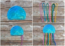 Step by step, instructions on how to make a children's craft Medusa from cardboard and yarn.