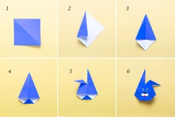 Step by step photo instruction How to make Origami paper bunny. Simple diy kids children's concept. collage of the steps photo