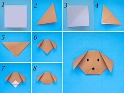 Step by step photo instruction how to make origami paper dog. Simple diy kids children's concept.