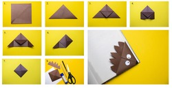 Step-by-step photo instructions on how to bookmark a book in the form of a brown hedgehog. DIY concept. Children's craft.