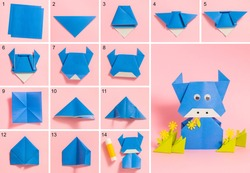 Step-by-step photo instructions on how to make a blue bull from paper with your own hands. Symbol of the new year 2021. Simple crafts with children. Origami