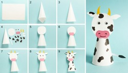 Step-by-step photo instructions on how to make a white bull from paper with your own hands. Symbol of the new year 2021. Simple crafts with children