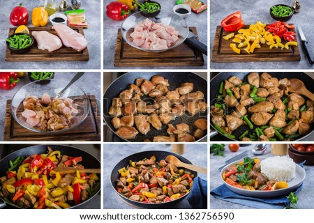 Step by step recipe kitchen menu. Chicken with vegetables. Thai meat. Azian Thai Food Concept. #1362756590
