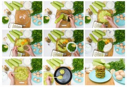 step by step recipe to cook zucchini pancakes and greens on a light background on a wooden Board . recipe with the addition of eggs and flour, garlic, pepper. top view