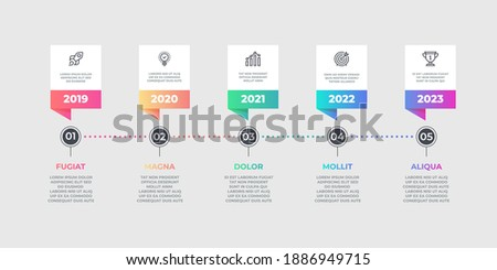 Step infographic element. Business timeline flow chart, options graphic element.  lines workflow layout diagram for designs timing work process option Photo stock ©
