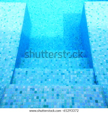 step into swimming pool - stock photo