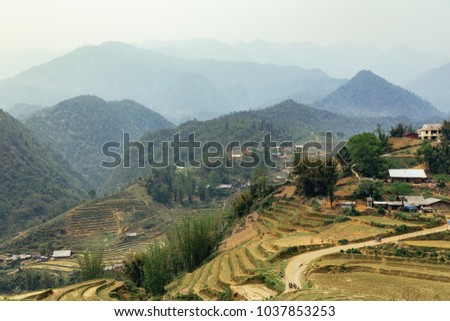 Step ladder farm on the hill with villages and mountain in the background in summer in the morning in Sa Pa, Vietnam. #1037853253
