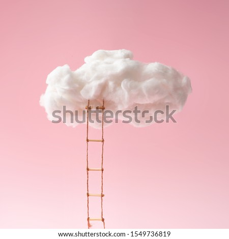 Step ladder leading to clouds . Growth, future, development concept. Minimal pink compostition.