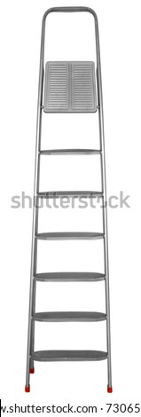 Step-ladder with seven steps isolated on white background. Clipping path included.