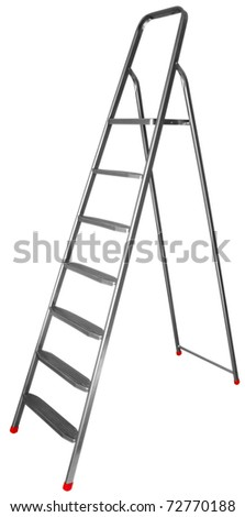 Step-ladder with seven steps isolated on white background. Clipping path includes.
