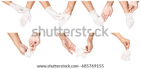 Step of hand throwing away white disposable gloves medical, Isolated on white background. Infection control concept.