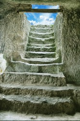 step stone staircase in the ruins of the ancient cave city