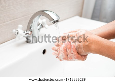 Step 1. The correct technique and instructions for washing hands. Stockfoto ©
