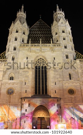 Stephansdom cathedral in Vienna by night