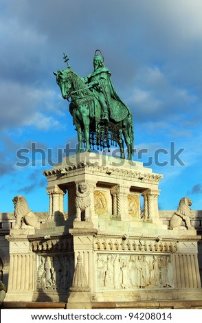 Stephen I monument at Fisherman's Bastion in Budapest, Hungary