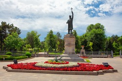 Stephen the Great Monument in Chisinau , a bronze statue of Stephen of Moldavia