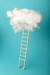 Stepladder into clouds, entrepreneur business success concept. Progress and growth up.
