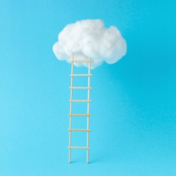Stepladder leading to the clouds. Success and progress concept. Minimal composition.