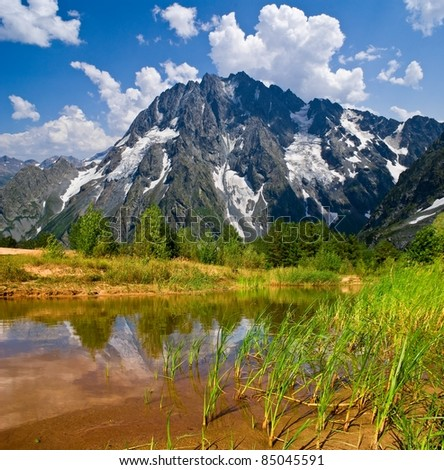 steppe lake near a mountain foot