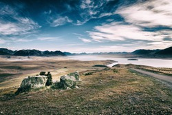 Steppe, lakes and mountain in McKenzie Country on the south Island of New Zealand