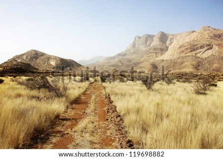 steppe with Erongo mountains in Namibia