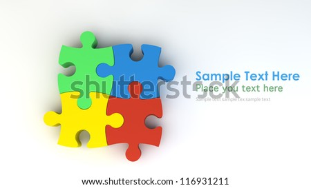 Stepping colorful jigsaw