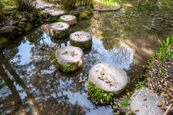 Stepping stones covered with leafs crossing water.