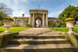 Steps and gate house  at the Sheffield Botanical Gardens, South Yokshire, England, UK