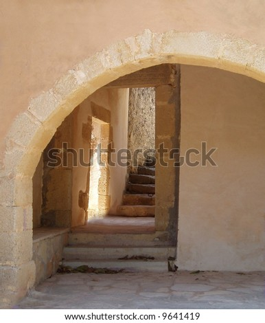 Steps at a monastery in Greece