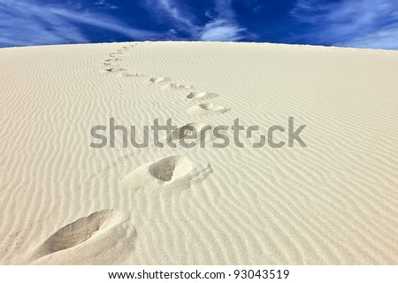 Steps in the sand of the Dune du Pyla, France