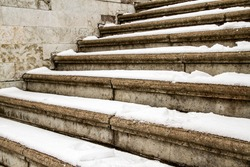 Steps in the snow in winter
