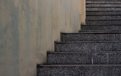 Steps made from cement arranged in stages.
