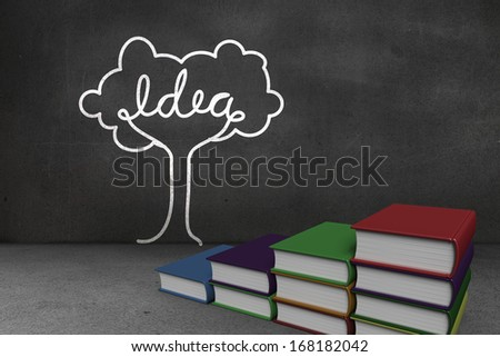 Steps made of books in front of idea tree doodle on blackboard wall