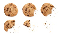 Steps of chocolate chip cookie being devoured and shadow, Sequence isolated on white background with clipping path.