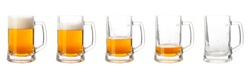 Steps of discharge glass of beer on white background. Drinking beer process