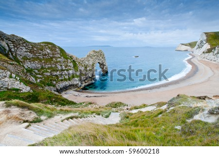 Steps on the footpath leading down to the beach at Durdle Door natural arch.  Durdle Door is on the Jurassic Coast in Dorset, UK and is a UNESCO World Heritage Site.