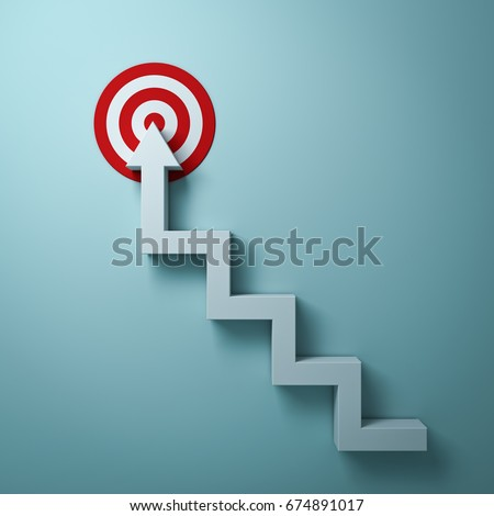 Steps or stairs arrow aiming to goal target or red dart board the business concept over light green wall background with shadow. 3D rendering.