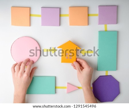 Steps to buy real estate. Hand putting a paper house between flowchart elements. Colored handmade diagram on white background. #1291545496