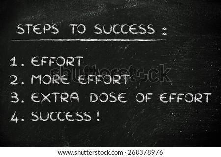 steps to success: effort, more effort and extra effort