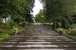 Steps uphill to former residence of President Tito of Yugoslavia on Lake Bled, Slovenia