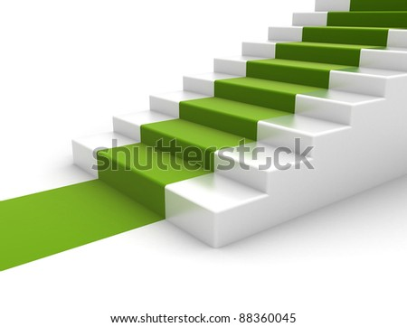Steps with green carpet