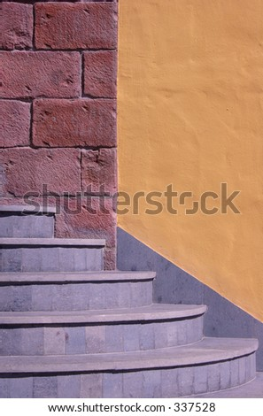 Steps with ochre and red wall
