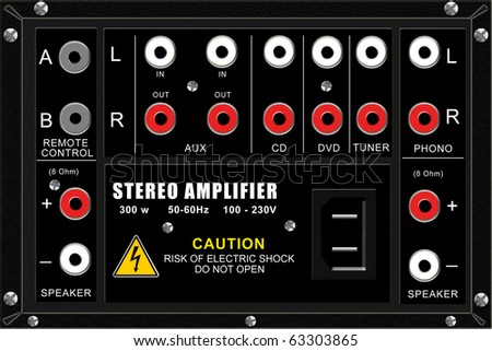 Stereo amplifier, connection panel